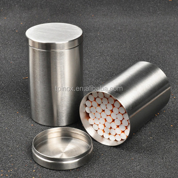 hot fashion stainless steel metal round large capacity cigarette box cigarette case with lid