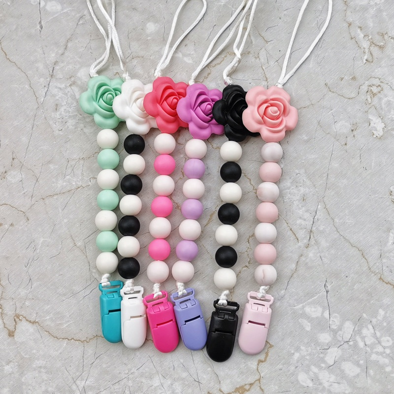 Pacifier Chain Wood Silicone Bead Flower Strap Holder Baby Teether Teething Care