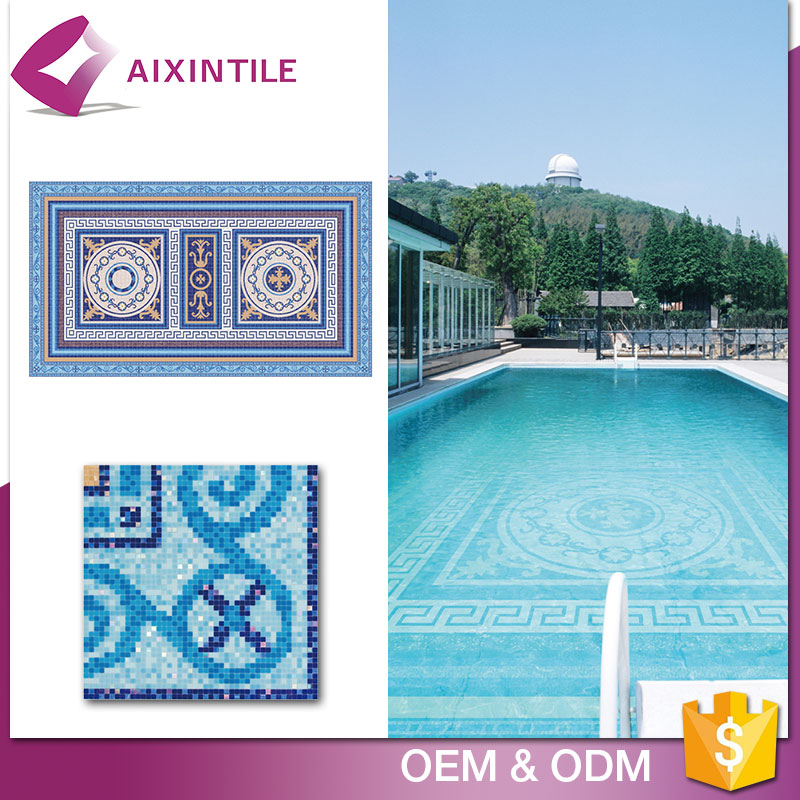 Hexagon Glass Swimming Pool Bullnose Mosaic Tile Price