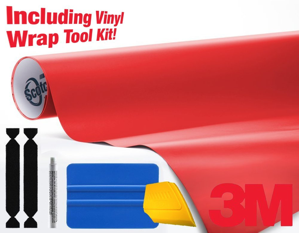 3M 1080 Matte Red Air-Release Vinyl Wrap Roll Including Toolkit (75ft x 5ft)