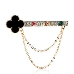 5.8 s 6.5 cm 12g Fashion Gold Rhinestone Crystal Brooch with Chain