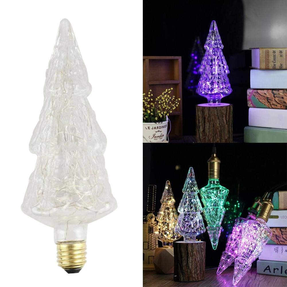 Laideyilan LED Hanging Lamp E27 Christmas Tree Copper Wire lamp Blue Different Shaped Copper Wire Bulb Deco Vintage Bar/Holiday Decorations(Without Lamp Holder)