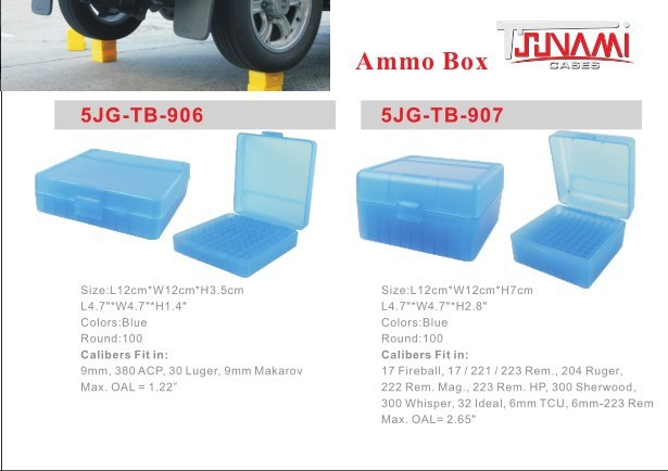 50 bullet munitions box .223//6MM calibre plastique bleu clair