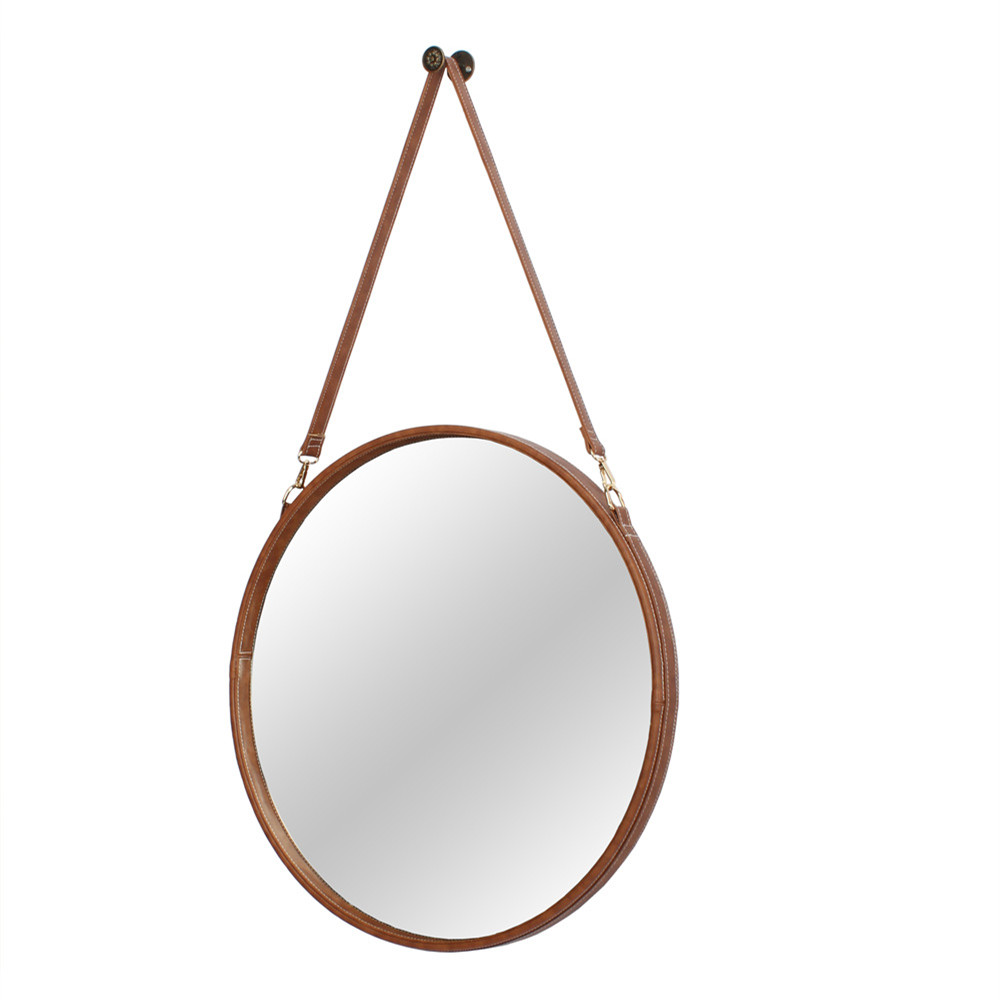 Decorative round hanging wall framed mirror with leather strap