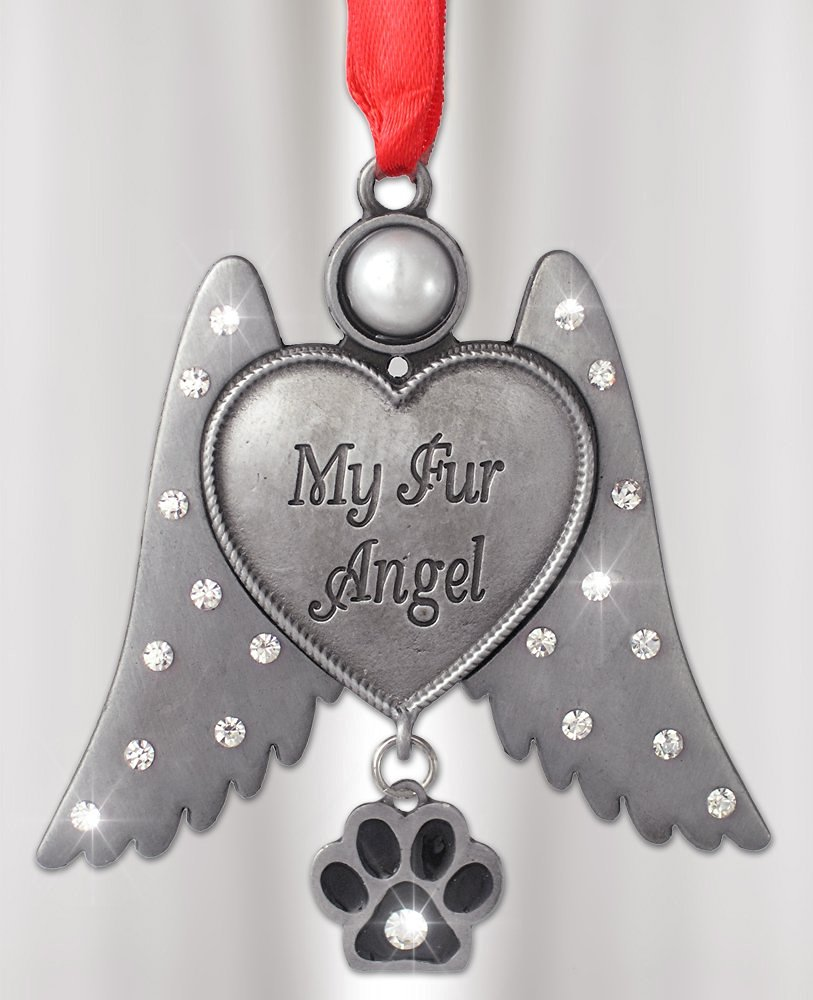 Dog Memorial -- Cat Memorial -- Angel Hanging Ornament with Rhinestone Jeweled Wings and Paw Print Charm - My Fur Angel Engraved on Heart - Metal 3 Inch