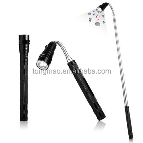 Hot Magnet Clip Pick up tool Telescopic led Flashlight with 3 LED