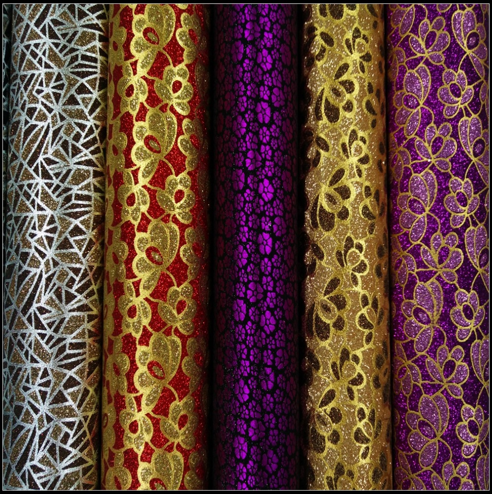 Beautiful Wallpapers Flowers Synthetic Leather Glitter