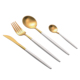 4 pcs plated titanium white and gold stainless steel gold cutlery for wedding