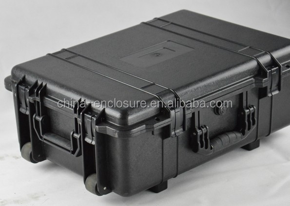 Hard plastic big size carrying case with wheels and customized foam