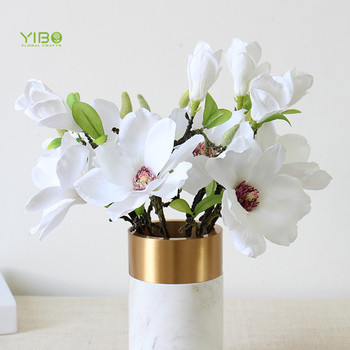 Real Like Home Decoration Silk White 2 Heads Artificial Magnolia Flower