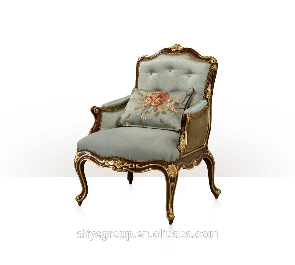 Vintage Style Villa Single Sofa Carved Wooden Living Room Arm Chair Imperial Gold Painted One Seat