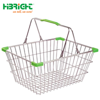 Retail metal wire mesh shopping basket with handles