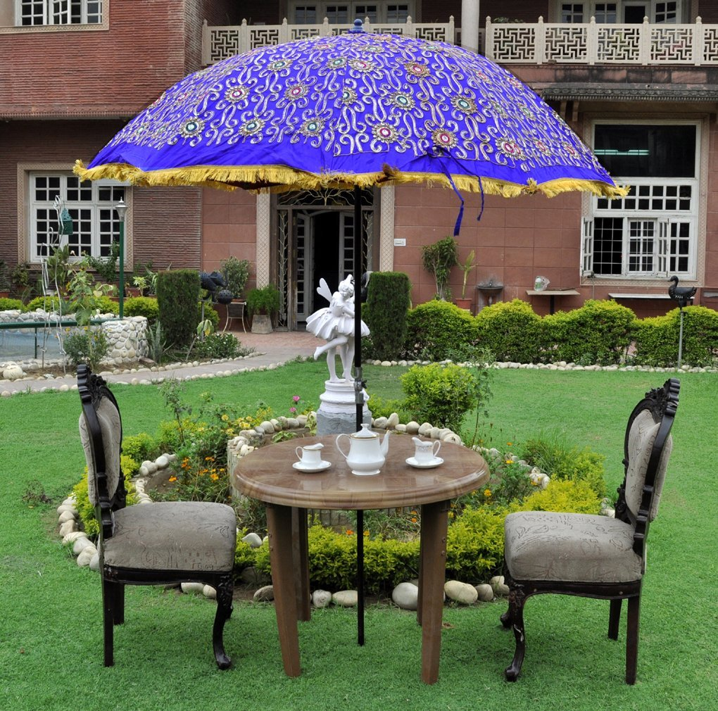 Attirant Rajasthani Handmade Silk Embroidery Work Design Sun Protection Garden  Umbrella Patio 52 X 72 Inches
