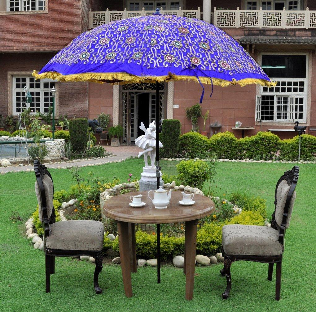 Beau Rajasthani Handmade Silk Embroidery Work Design Sun Protection Garden  Umbrella Patio 52 X 72 Inches