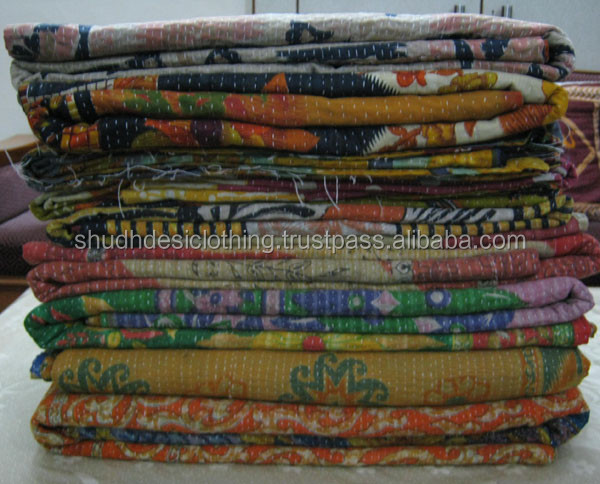 Kantha Quilt King Size , hand quilted kantha bedspread