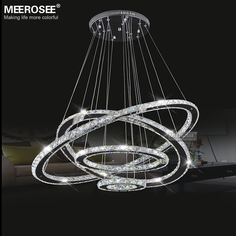 Meerosee Led Crystal Chandelier Light Diamond Ring Pendant