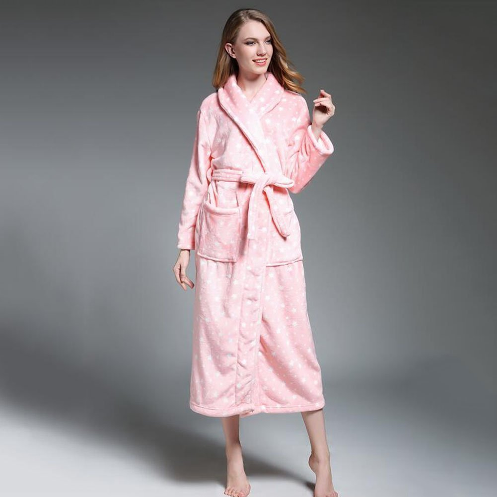 cd3dc103a9 Get Quotations · Bathrobe Mens And Ladies Coral Fleece Super Soft Thick Bath  Robe Traditional Dressing Gown With Two