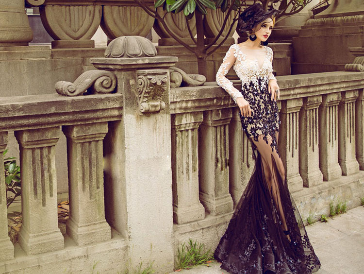 Zh g sexy mermaid lace appliques evening dresses long sleeves