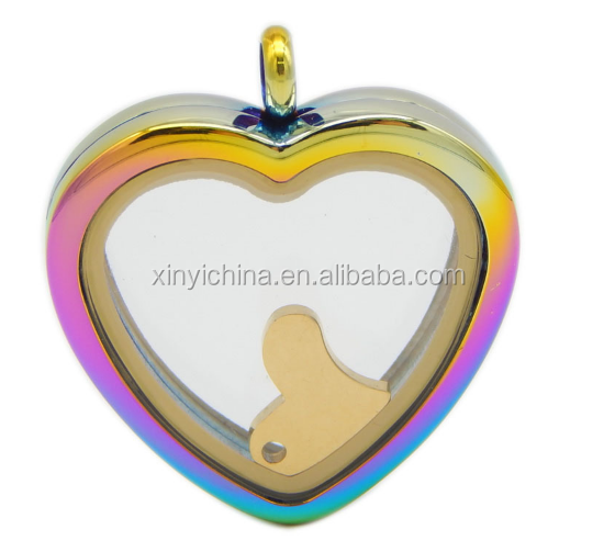 2017New products Stainless steel rainbow glass pendant lockets