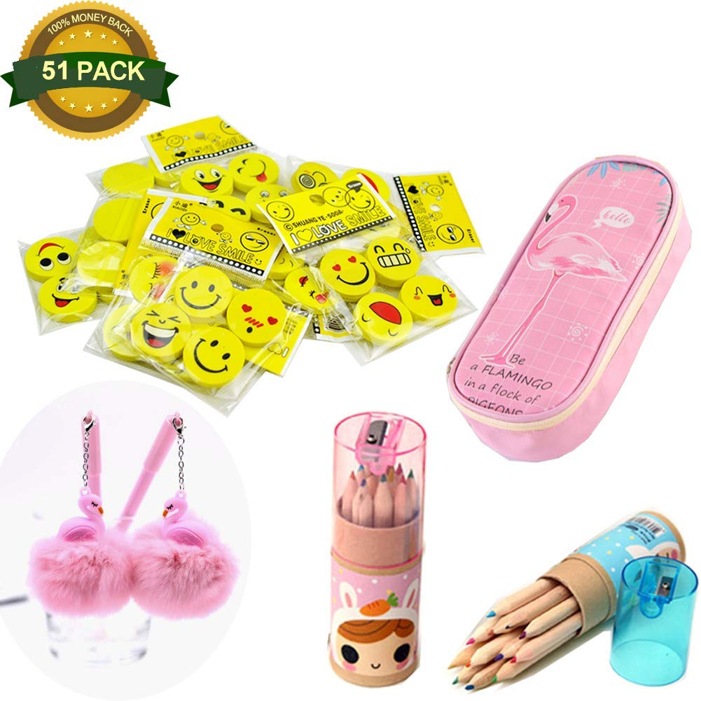 51Pack Emoji Mini Erasers Pencil Flamingo Pencil Case for Kids, Great for Gifts, Small Emoticon Party Favors, Teacher Incentives, Rewards, Classroom School Supplies