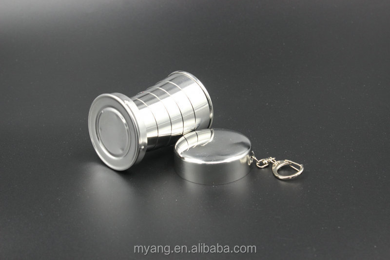 201#Stainless Steel Portable Telescopic Travel Cup,three size,tea cup with a key ring