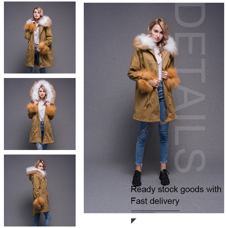 wholesale winter overcoat rabbit fur inner extremely soft and warm wind parka coat for ladies