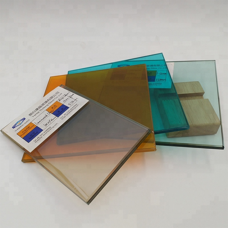 6.38mm 8.38mm 1 inch thick color PVB Film sandwich laminated glass