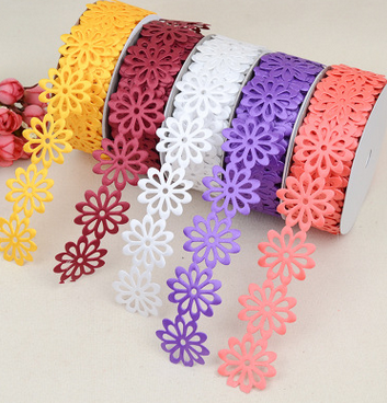 20 yards cand color Beautiful sun flower Fabric Sewing Applique satin ribbon, DIY Craft lace ribbon tape sewing su