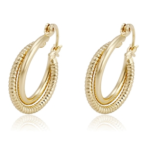 93715 Xuping hoop 14k gold earrings, 14 karat gold jewelry wholesale, fashion earring hooks