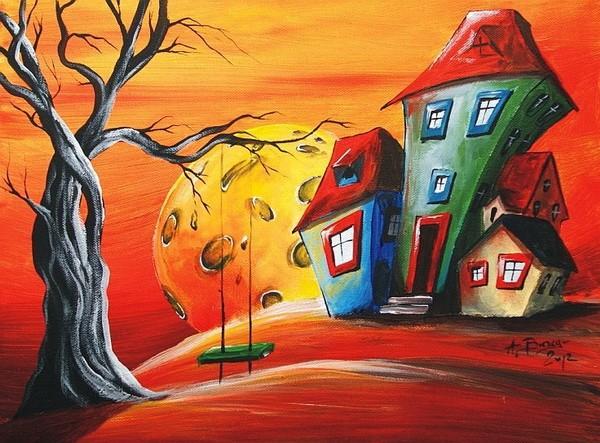 Abstract dancing huis Olieverf voor woonkamer wanddecoratie ...