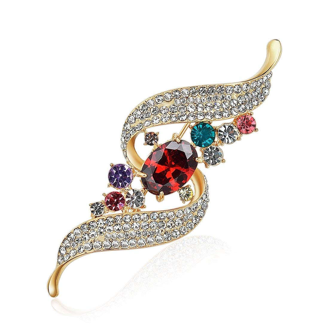 Designs Personalized Decorative Luxury Rhinestone Brooch Leaves Multicolor Retro Brooches Wholesale Jewelry Gift-in Brooches