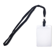 Clear plastic vertical name tags badge ID card holders and black lanyards