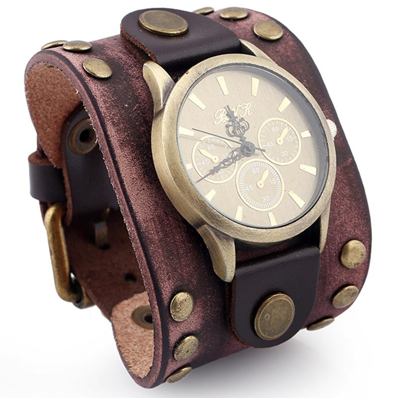 envio GRATIS a todo el mundo muy baratas Código promocional Venta al por mayor reloj pulsera cuero ancha-Compre online ...