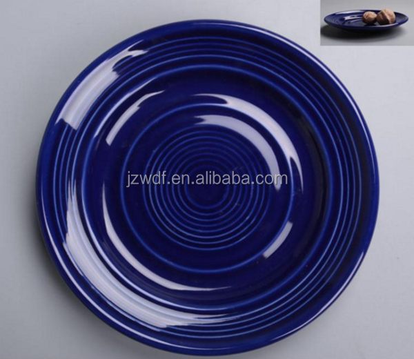 Cheap Price Dark Blue Solid Color Ceramic Dish Plate Directly from Factory