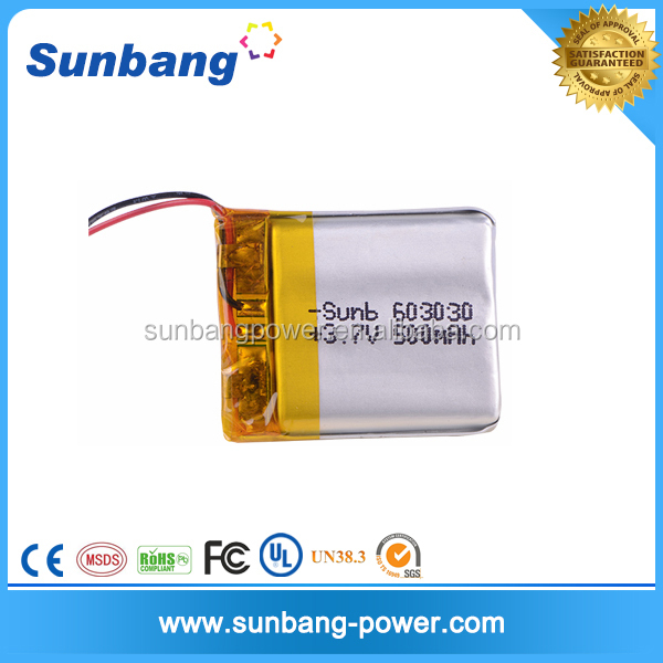603030 3.7v 500mah lithium polymer battery li ion battery