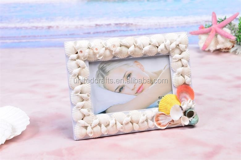 high quality seashell material combinations photo frame/multi wall photo frame for home decorative