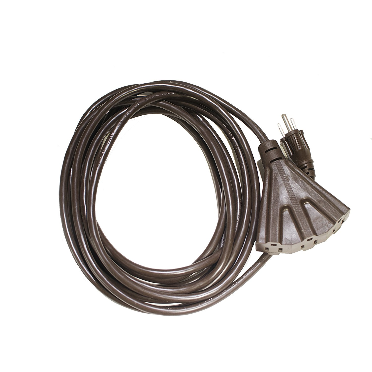 Holiday Lighting Outlet 15 ft. 16/3 SJTW Indoor Outdoor Extension Cord, Brown, 3 Outlets, 3 Prong - UL Listed