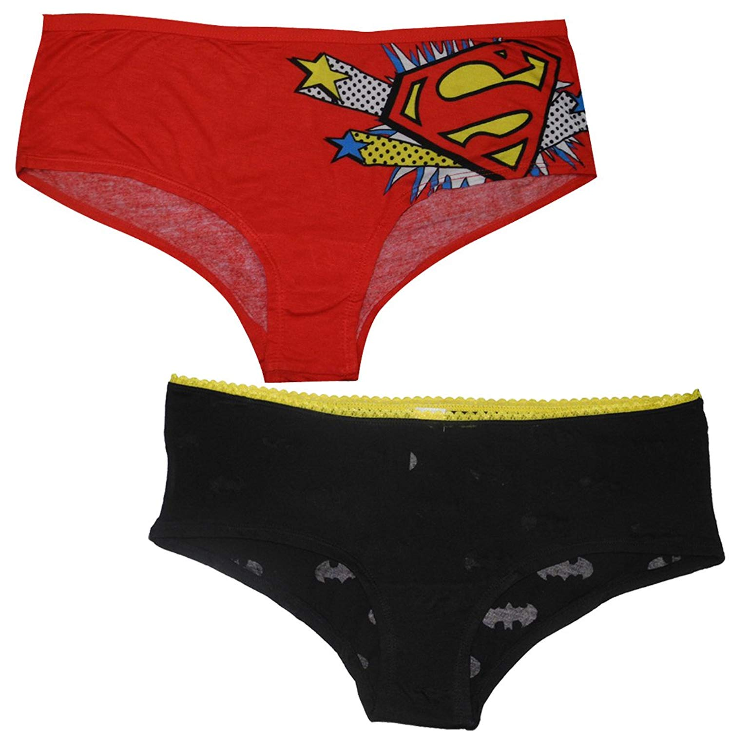 dee2afe49a72a Get Quotations · (Pack of 2) Womens SUPERGIRL   BATGIRL Stretch Brief  Panties