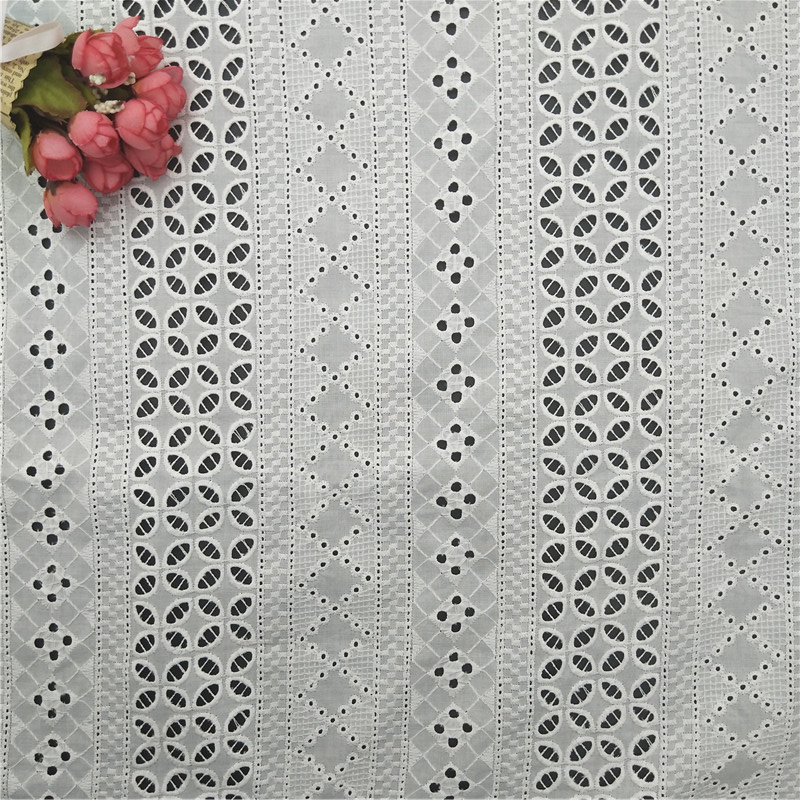 100%cotton 60s voile embroidered eyelet fabric