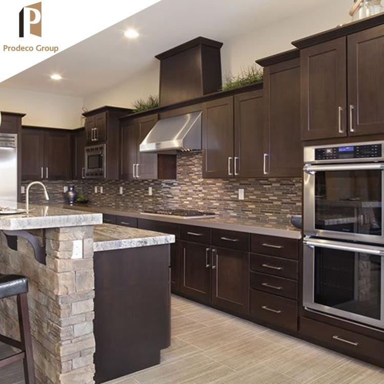 Kitchen Cabinet Island Bar Modular home furniture wood veneer kitchen cabiwith island and