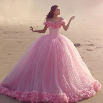 Pink Wedding Dress Indian Gown Designs2018 Charming Off Shoulder ...
