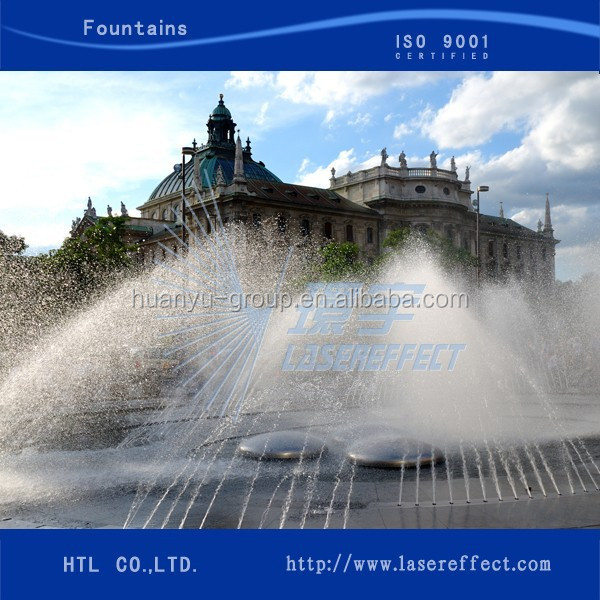 Big dancing water fountain with floating system in lake and lagoon