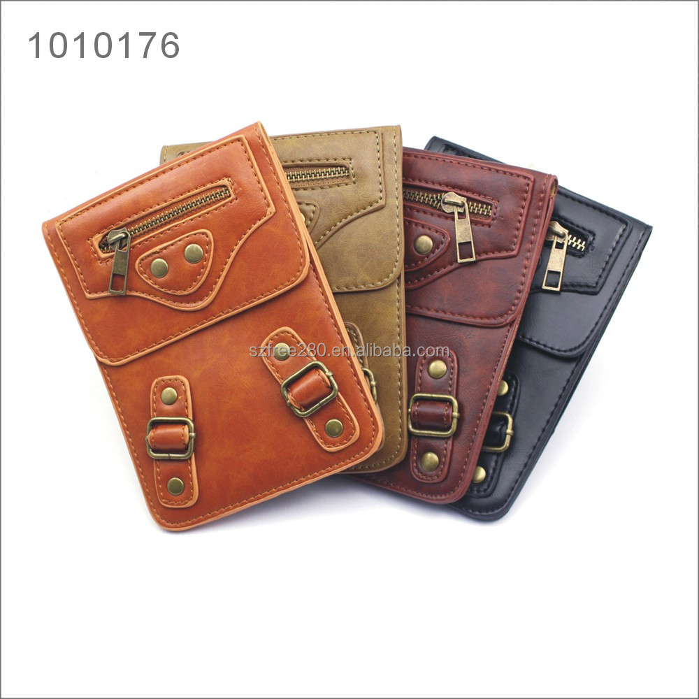 Universal Multifunctional PU Leather Mini Mobile Phone Bag Pouch with Metal Button for 6 inch smartphones