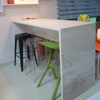 Wall Mounted Bar Table Quartz Marble Top