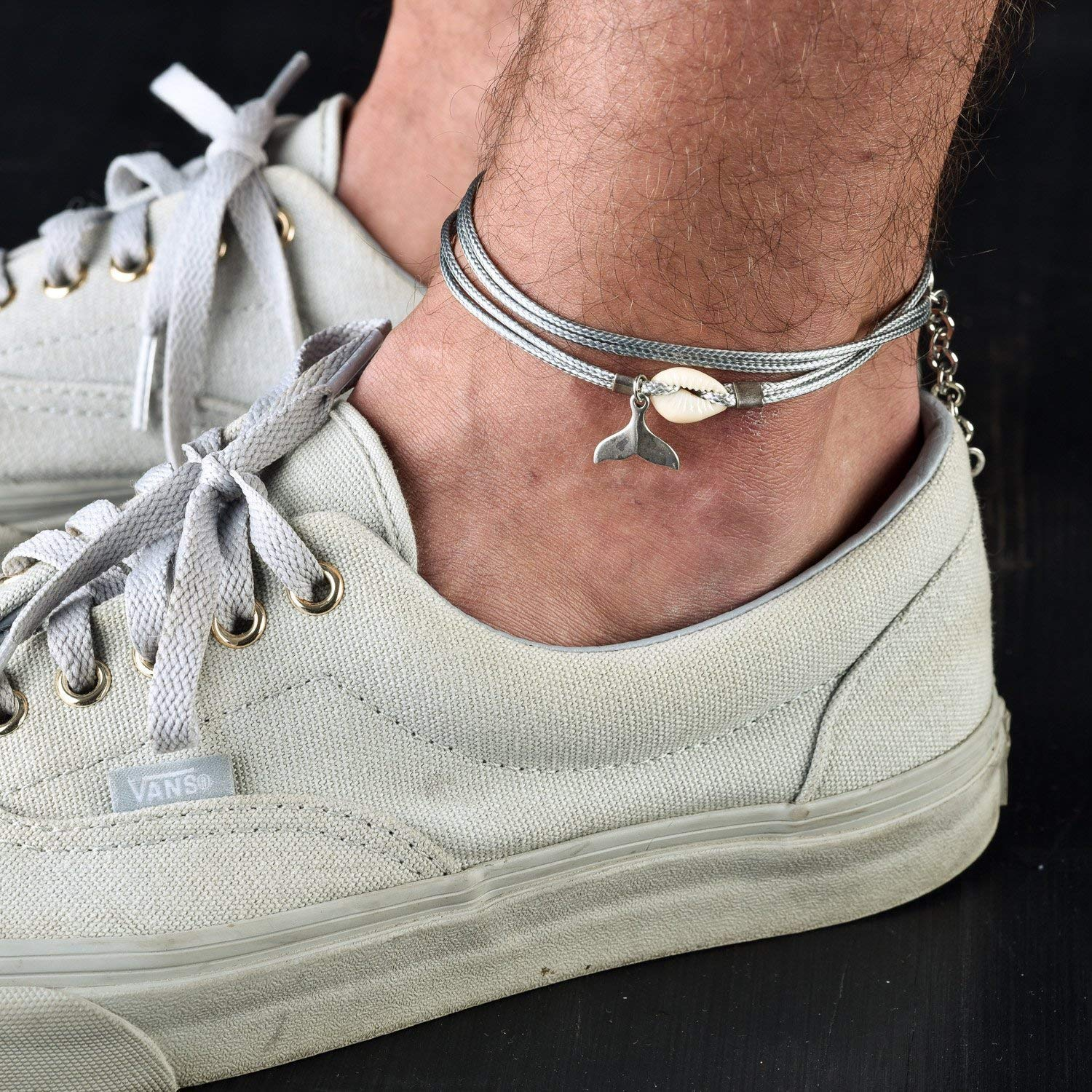 Handmade Wrap Gray Fabric Ankle Bracelet For Men Set With a Shell And a Silver Plated Whale Tail Pendant By Galis Jewelry - Anklet For Men - Whale Tail Anklet For Men