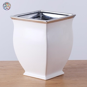 White and silver style cheap fashionable pot flower ceramic clay pots with low price