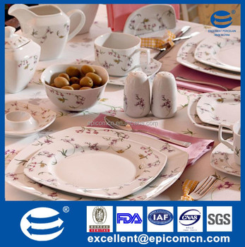 luxury fine bone china square Turkish porcelain dinnerware sets with royal elegent design for 4 & Luxury Fine Bone China Square Turkish Porcelain Dinnerware Sets With ...
