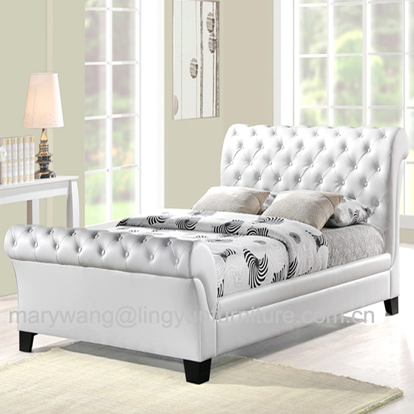 Sleigh Bed With Leather Headboard, Sleigh Bed With Leather Headboard ...