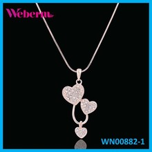 Elegance Simple Pattern Design Triple Heart Pendant Necklace With women's jewelry