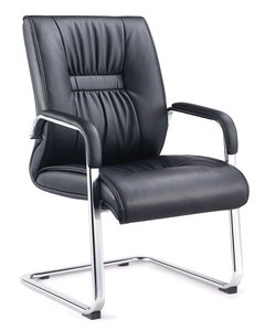 Mid back executive visitor leather office chair without wheels